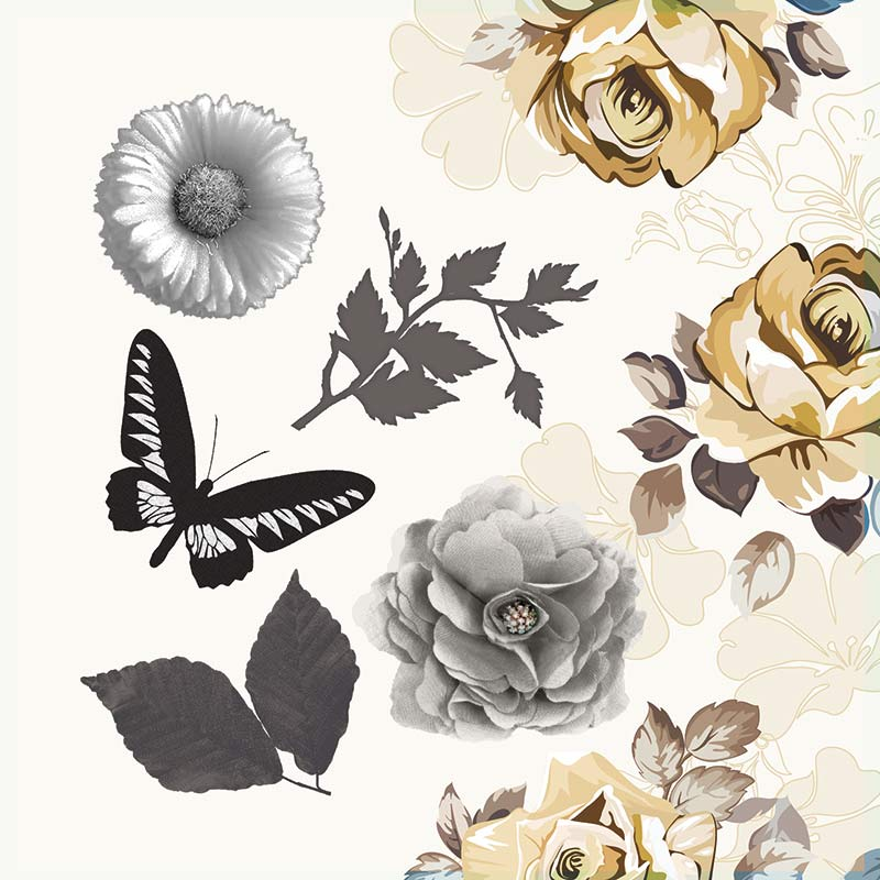 Papel Old Flowers - Art Unica - 30,5x30,5