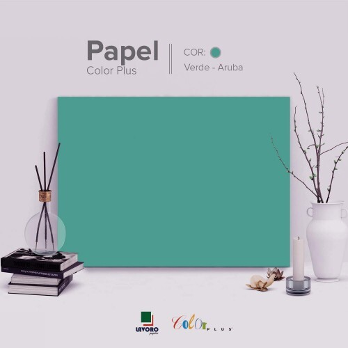 Papel Color Plus - Verde Tiffany (Aruba) - 240g 30,5x30,5 - 30 Folhas