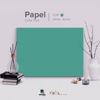 Papel Color Plus - Verde Tiffany (Aruba) - 240g 30x60 - 21 Folhas
