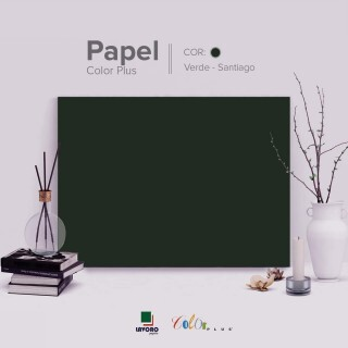 Papel Color Plus 180g A4 - Verde Musgo (Santiago) - 27 Folhas