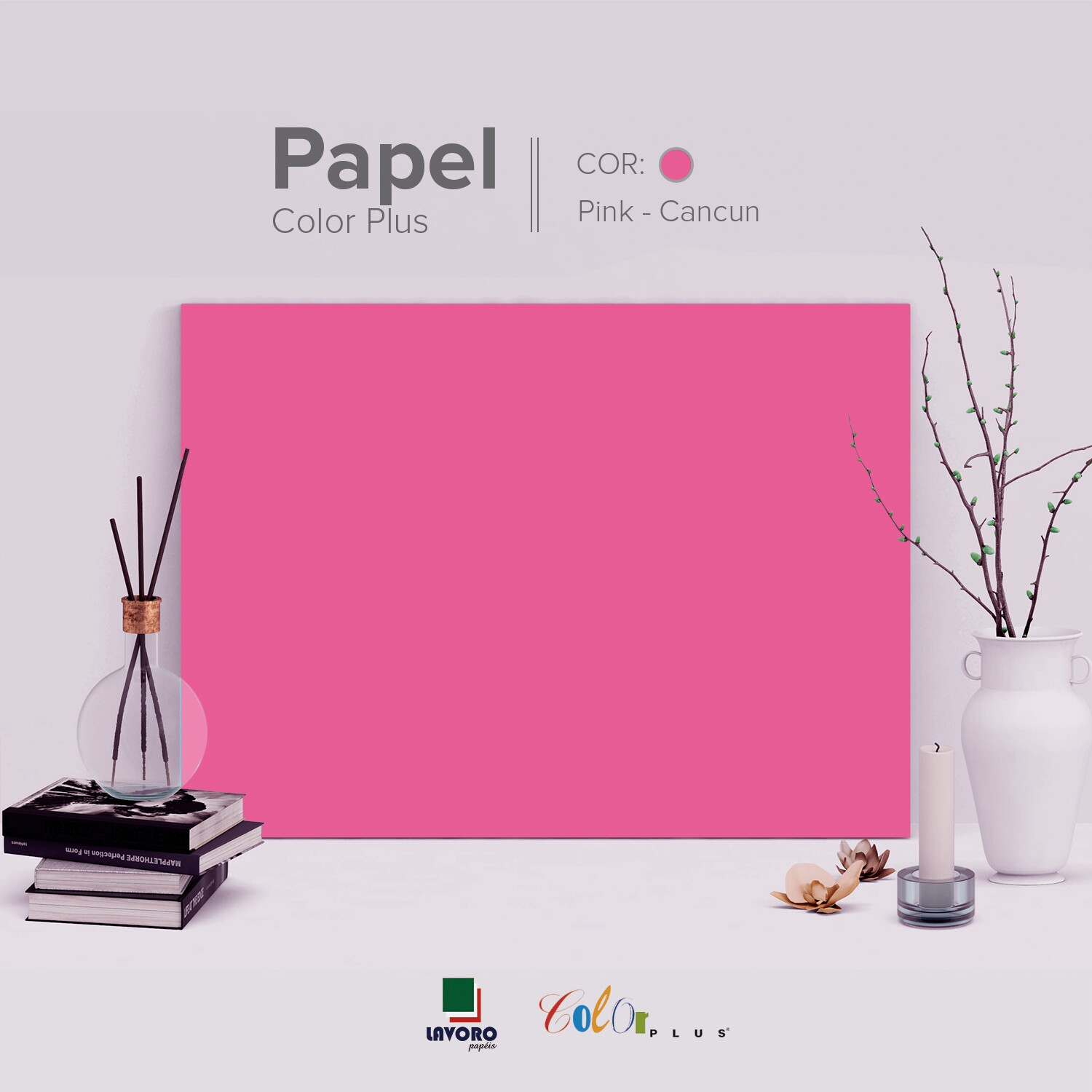 Papel Color Plus - Rosa Pink (Cancun) - 180g A3 - 28 Folhas