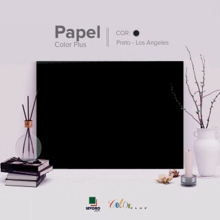 Papel Color Plus - Preto (Los Angeles) - 240g A4 - 25 Folhas