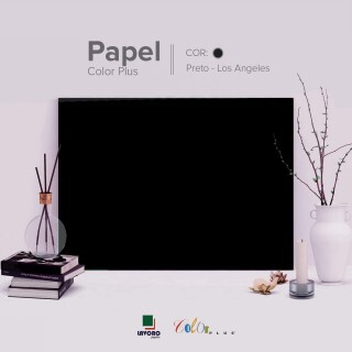 Papel Color Plus - Preto (Los Angeles) - 180g 30x60 - 21 Folhas