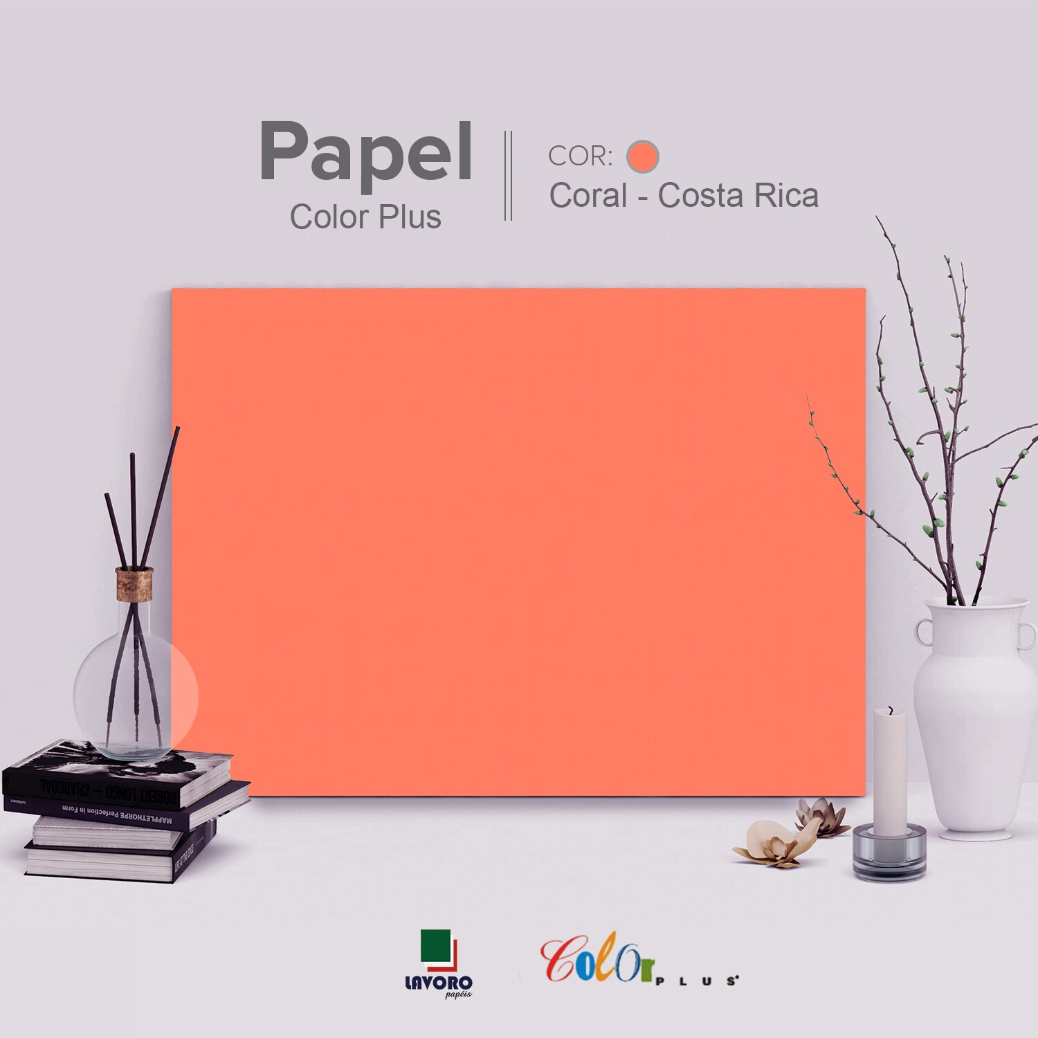 Papel Color Plus - Coral (Costa Rica) - 180g A4 - 25 Folhas