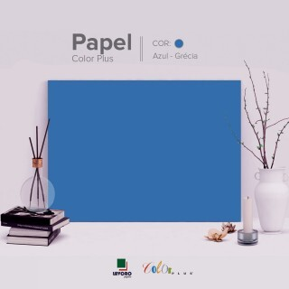 Papel Color Plus - Azul Royal (Grécia) - 180g 30x60 - 21 Folhas