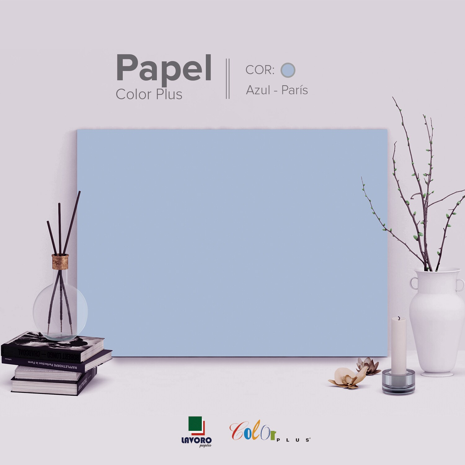 Papel Color Plus 180g A4 - Azul Claro (Paris) - 27 Folhas