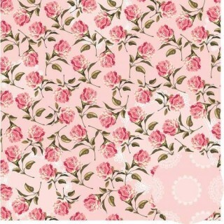 Papel Floral Chique - Rosa - Oficina do Papel - 30,5x30,5