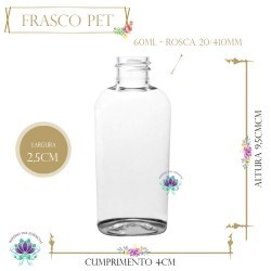 Frasco 60ml Pet Oval Premium sem Tampa Rosca 20/410 (1un)