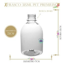 Frasco 315ml Pet Premium sem Tampa Rosca 28/410 (1un)
