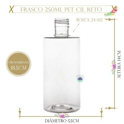 Frasco 250ml Pet Cil Reto Sem Tampa Rosca 24/415 (1un)