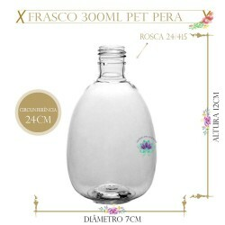 Frasco 300ml Pet Pera Sem Tampa Rosca 24/415 (1un)