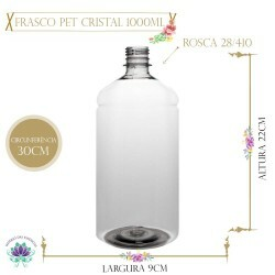 Frasco 1000ml Pet Cristal sem Tampa Rosca 28/410 (1un)