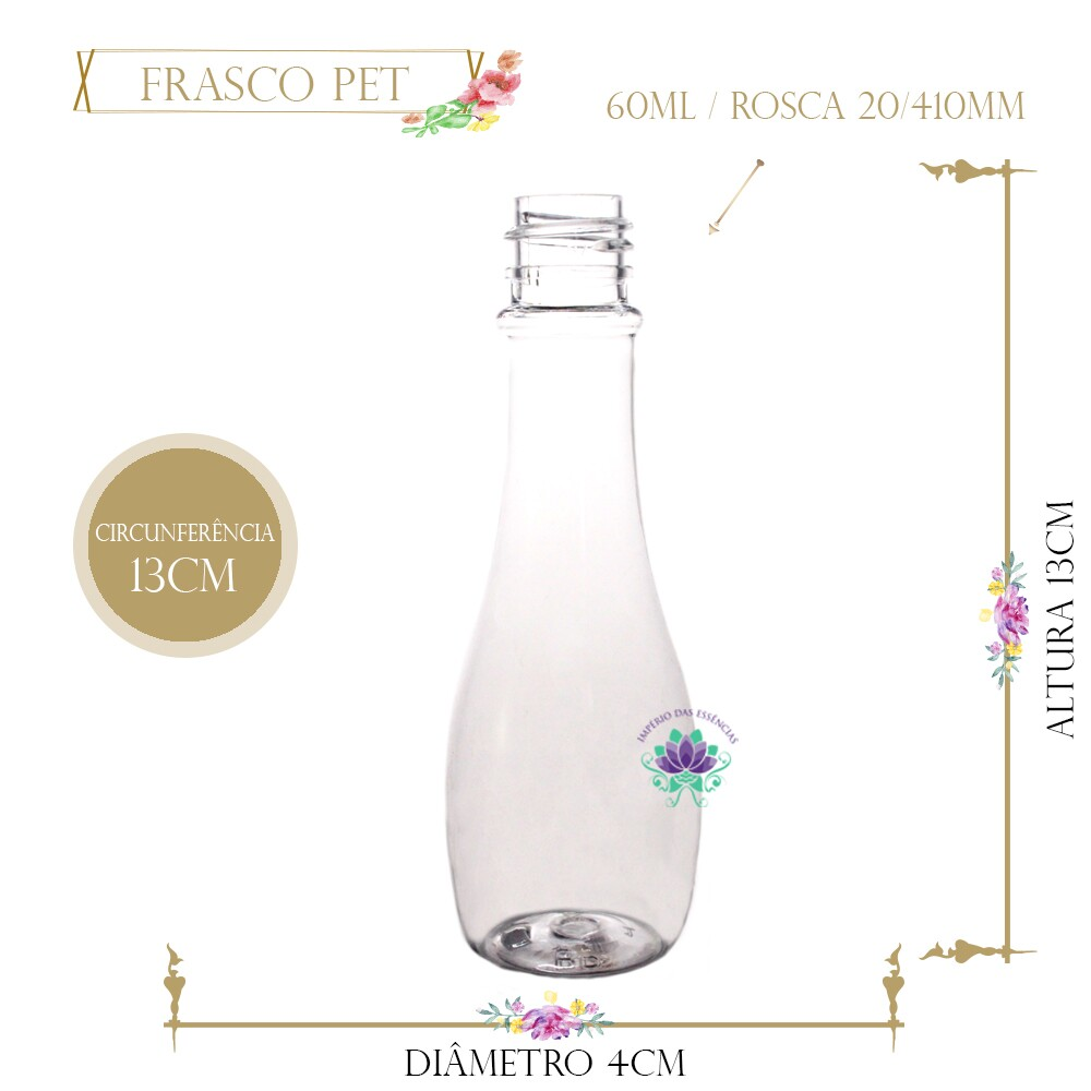 Frasco 60ml Pet Boliche Sem Tampa Rosca 20/410 (1un)