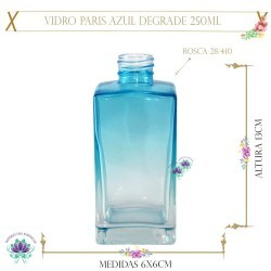 Vidro Paris Azul Degrade 250ml Rosca 28/410 (1un)
