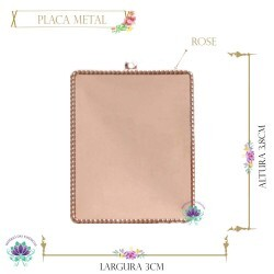 Placa Metal Retangular Rose Lisa (5UN) AB29CO
