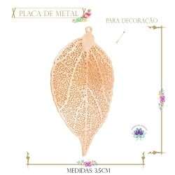 Placa de Metal Rose Folha (4Un) (REF.6601CO)