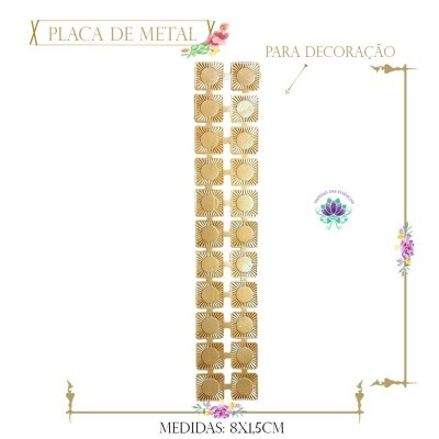 Placa de Metal Rose Barrinha Quadrada (4Un) (REF.21422CO)