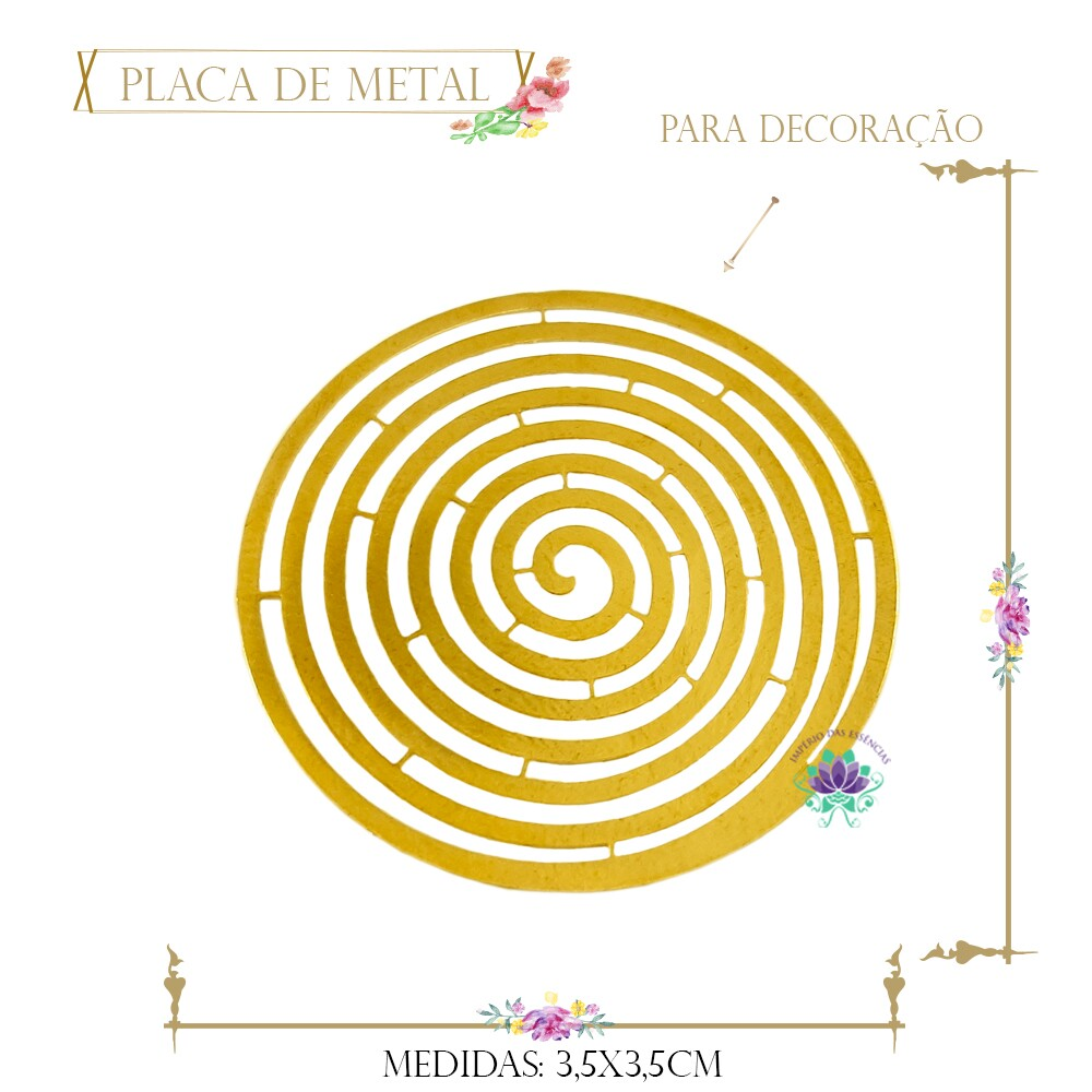 Placa de Metal Dourada Espiral (4Un) (REF.9603DO)