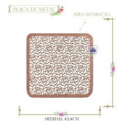 Placa de Metal Rose Quadrado Rosas (4Un) (REF.21423CO)