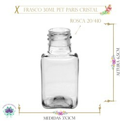Frasco 30ml Pet Paris Cristal sem Tampa Rosca 20/410 (1un)