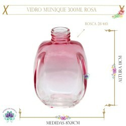 Vidro Munique 300ml Rosa sem Tampa Rosca 28/410 (1un)