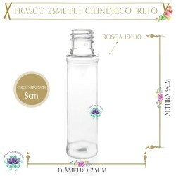Frasco 25ml Pet Cil Reto Sem Tampa Rosca 18/410 (1un)