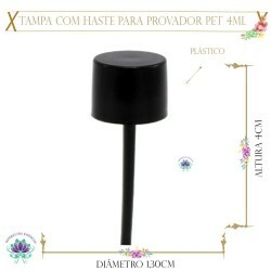 Tampa com Haste para Flaconete 4ml Pet (1un)