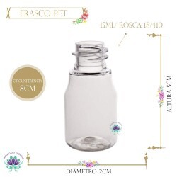 Frasco 15ml Pet Milk Sem Tampa Rosca 18/410 (1Un)