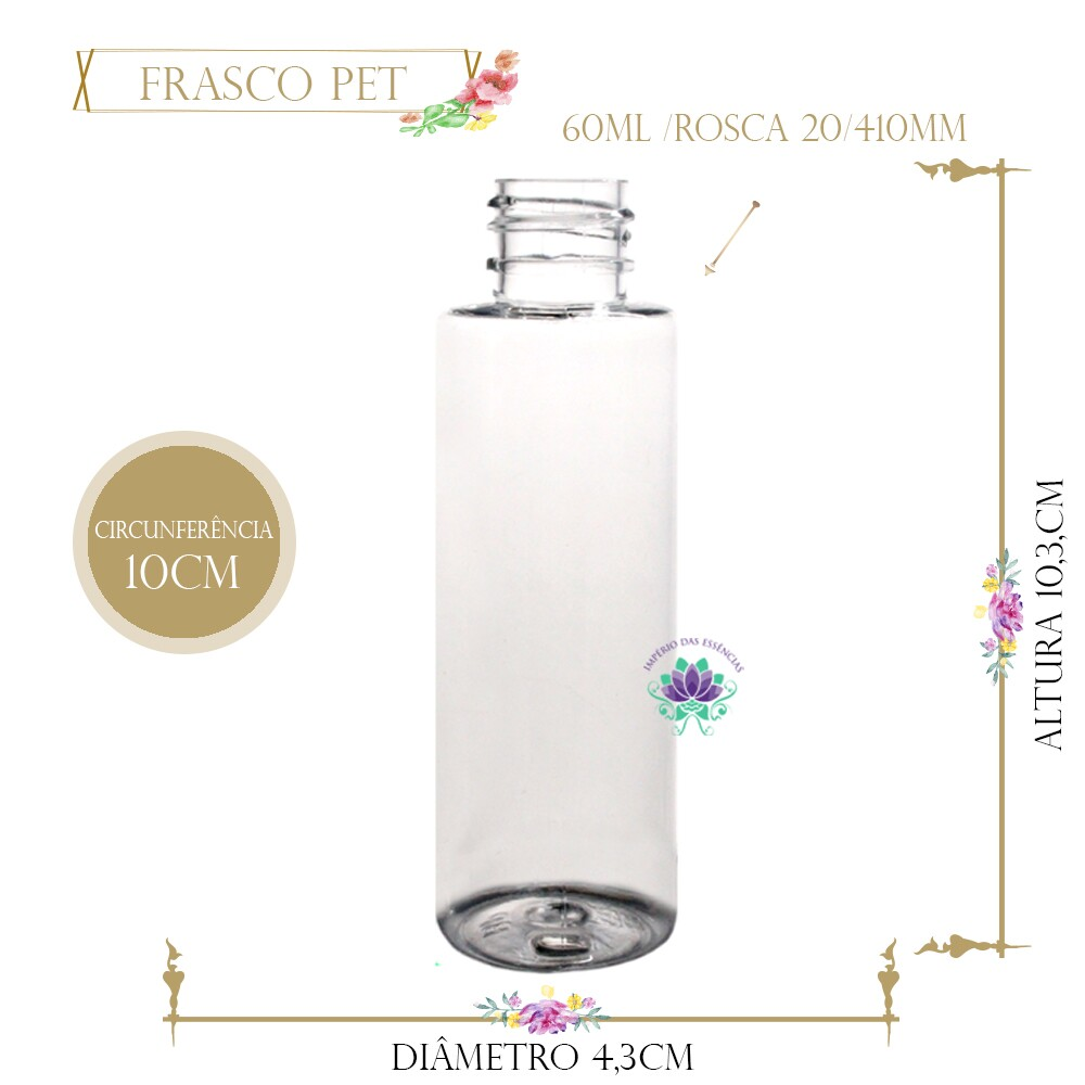 Frasco 60ml Pet Cil Reto Sem Tampa Rosca 20/410 (1un)