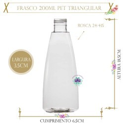 Frasco 200ml Pet Triangular Sem Tampa Rosca 24/415 (1un)