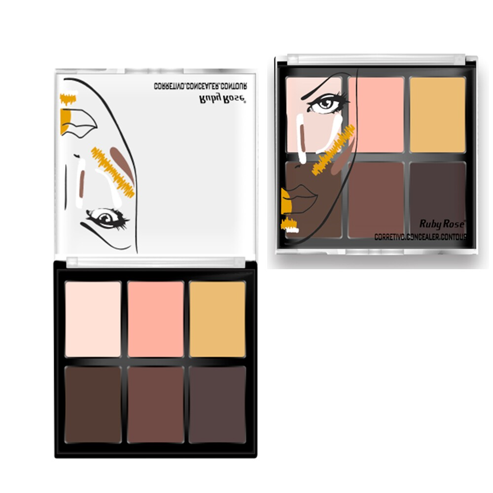 Corretivo Ruby Rose Concealer Contour HB-8088 Light - 6 Cores - 11,4g