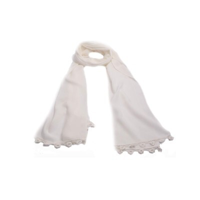 Echarpe Off White com Renda de Viscose (4043)