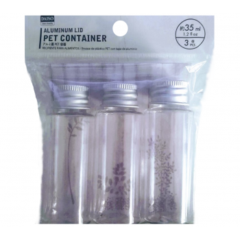 Aluminum liq pet container - Frasco com tampa  de aluminio- #3 pcs - 35ml