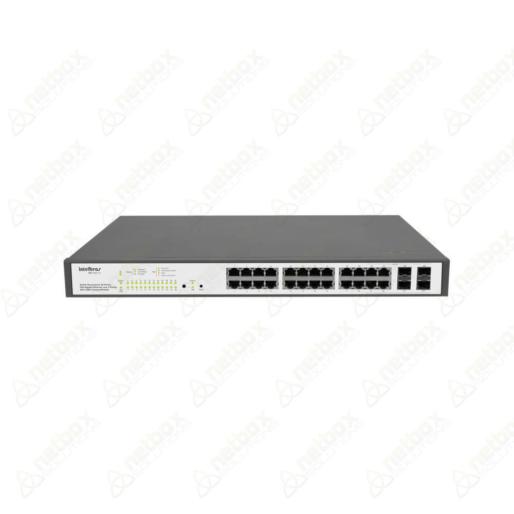 SG2404 POE - Switch Gerenciável 24 portas PoE Gigabit Ethernet com 4 Mini-GBIC