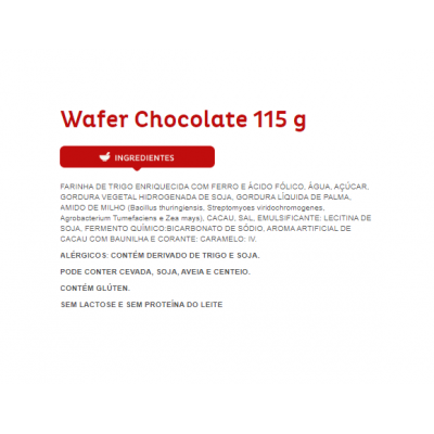 BISCOITO WAF CHOCOLATE 115G
