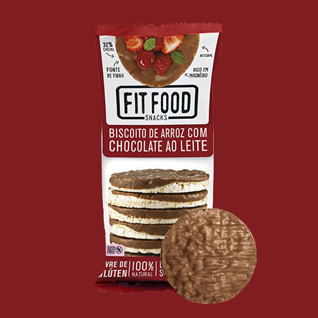 BISCOITO DE ARROZ COM CHOCOLATE AO LEITE70G FIT FOOD