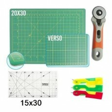 Kit Patchwork Base 20x30 Régua 15x30 Cortador 45mm + Brinde